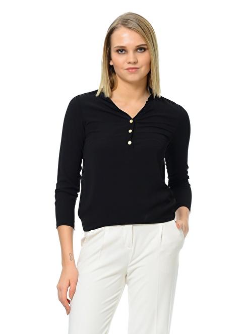 Dewberry Önden Düğmeli Bluz Siyah